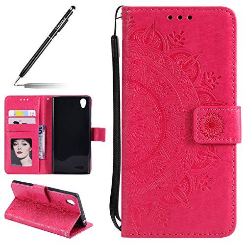 Uposao Kompatibel mit Sony Xperia L1 Tasche Leder Flip Case Dünn Ledertasche Flip Hülle Handytasche Schutzhülle Book Cover Handyhülle Klapphülle Kartenfach Magnetverschluss,Rot