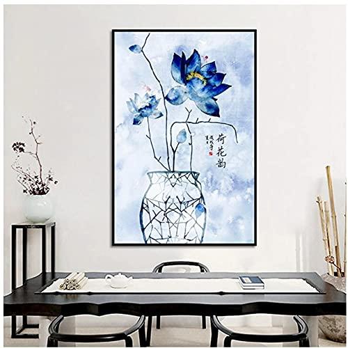 Mxjjjlop Cartel De Arte De Pared De Estilo Chino Simple Abstracto Azul Planta De Loto Lienzo Pintura Imagen Decoración Del Hogar Dormitorio Sala De Estar Mural 50X70Cm Sin Marco