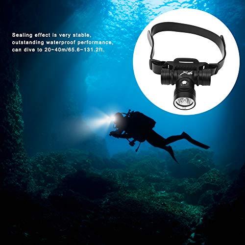 Uxsiya Linterna Frontal para Buceo, luz Frontal para Buceo y un LED XM-L2 de Alto Brillo, Resistente al Agua, diseño Resistente al Agua para Pesca y Ciclismo