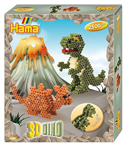 Hama Perlen 3250 Geschenkset 3D Dinos mit ca. 2.500 bunten Midi Bügelperlen mit Durchmesser 5 mm, Motivvorlage und Stiftplatte, inkl. Bügelpapier, kreativer Bastelspaß für Groß und Klein