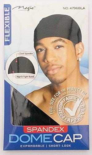 Magic Collection Spandex Dome Cap 4796 Bonnet extensible, court, souple Noir