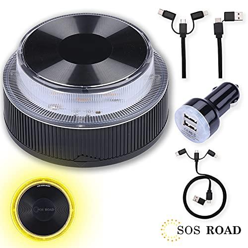 NK SOS Road - Luz de Emergencia Coche + Kit Auto 6 en 1, Luz de Emergencia Autónoma, Luz LED, Señal V16 de Preseñalización de Peligro Homologada - Pilas Incluidas (Autorizada por la DGT)