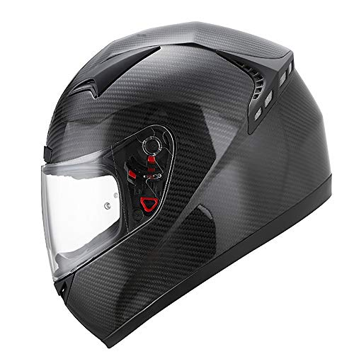 QXFJ Casco Moto,Cascos modulares Casco Integral De Fibra Compuesta De Carbono para Motocicleta Casco para Motocicleta CertificacióN De Seguridad Dot/ECE De Fibra De Carbono Antivaho