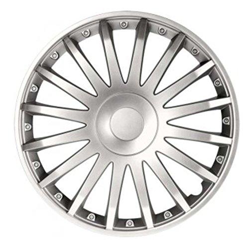 """Fussmatten-Deluxe Radkappen Radzierblenden 4 Stück im Set universell Silber 16 Zoll 16"""" R16#CS# für Fast alle Standard - Stahlfelgen z.B. Peugeot"""