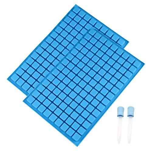 Mini-Silikonform,2 Eiswürfelformen mit 2 Pipetten,Blau FlexibelAntihaft-Silikonformen für Gummi,Karamell,Ganache, Eiswürfel,Gelee-Trüffel-Pralinen