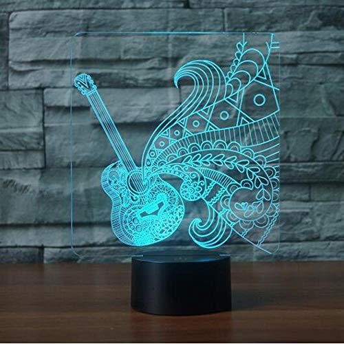 BFMBCHDJ Gitarrenform 3D LED Nachtlicht 7 Bunte Atmosphäre Lampe Musikinstrumente 3D Illusion Schreibtisch Tischlampe Babyschlaf Lichter