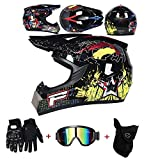 LZSH Casco professionale da motocross, Casco da moto cross, guanti e occhiali di protezione D.O.T, Standard, per bambini, Quad Bike ATV Go-kart (F,M: 57-58 cm)
