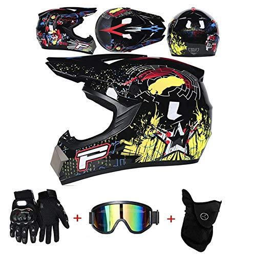 LZSH Casco professionale da motocross, Casco da moto cross, guanti e occhiali di protezione D.O.T, Standard, per bambini, Quad Bike ATV Go-kart (F,L: 59-60 cm)