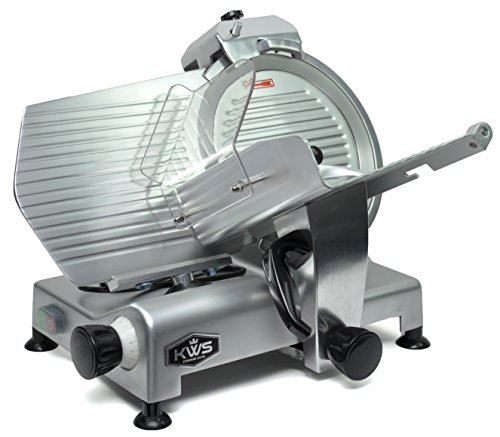 KWS MS-12NS Premium Commercial 420w Electric Meat Slicer 12-Inch Stainless Steel Blade, Frozen Meat/Cheese/Food Slicer Low Noises Commercial and Home Use