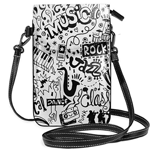 Vrouwen Small Cell Phone Purse Crossbody, Music Themed motief met abstract Drawing Rock Jazz Blues Genre Classic Dancing