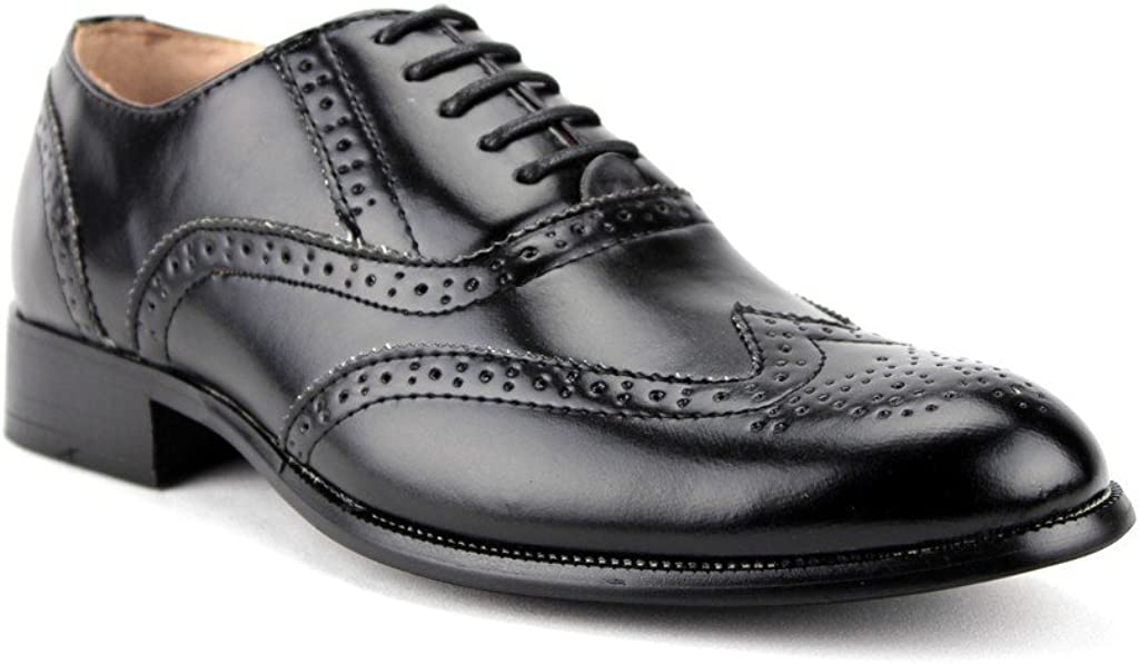 Majestic Men's 95753 Two-Tone Wing Tip Brogue Formal Lace Up Oxford Dress Shoes