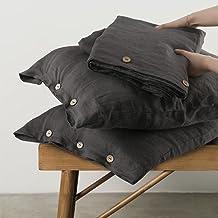 مجموعة غطاء لحاف من الكتان المغسول بنسبة 100% من Simple &Opulence طقم سرير من الكتان الطبيعي الناعم (1 لحاف وغطاء + 2 كيس ...
