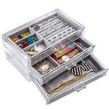 Sonnis Boîte de Rangement à 3 tiroirs en Velours avec tiroirs pour Bijoux et Bijoux pour Femmes et Filles Transparent