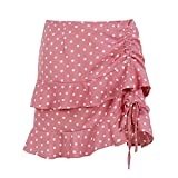 KILLREAL Women's Sexy Polka Dots Above The Knee Ruffled Casual Mini Wrap Skirt Red Large