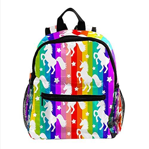 Mochila Escolar Unicornio Arcoiris Backpack Primaria Pequeña Guardería Mochila Preescolar para Niños de 3-8 Años 25.4x10x30 CM