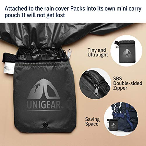 Product Image 1: Unigear Backpack Rain Cover Waterproof Rating 5000mm, Ultraportable and Durable with 2 Anti-Slip Buckle Strap, Integrated Carry Pouch Design
