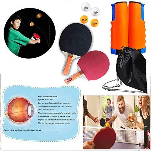 Tischtennis Set, Tischtennisschläger, Professioneller Pingpong-Schläger, Ideal für Anfänger, Familien und Profis (2 Schläger und 4 Bälle)