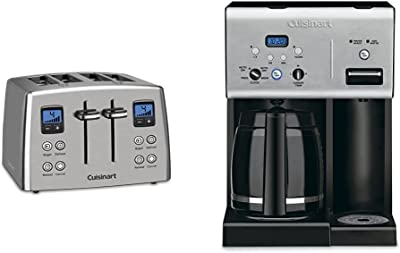 Cuisinart CPT-435 Countdown 4-Slice Brushed Stainless Steel Toaster & CHW-12P1 12-Cup Programmable Coffeemaker Plus Hot Water System Coffee Maker, Black/Stainless