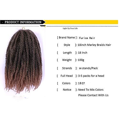 Furice 18 pouces Afro Kinky Curly Crochet Tresses Extensions de cheveux Long noir cheveux afro-améri1b 27