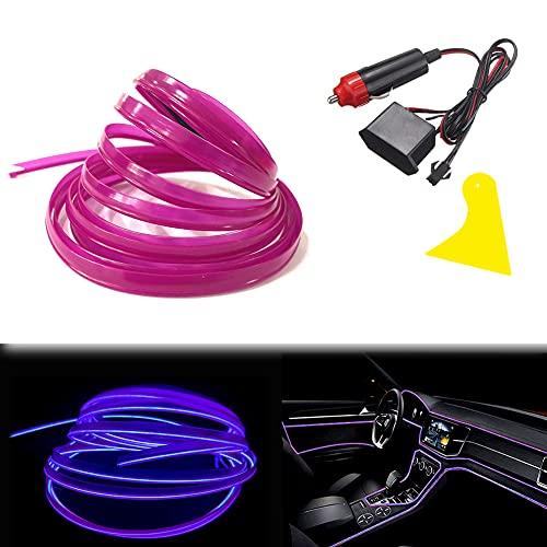Balabaxer Bright Violett EL Wire mit 6mm Nähkante, 3m Neondraht 12V mit Absicherung für Automotive Car Interior Decoration