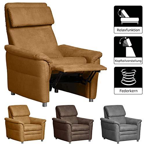 Cavadore 526 Sessel Chalsay inkl. verstellbarem Kopfteil und Relaxfunktion / mit Federkern / moderner Federkern-Sessel mit Liegefunktion und Kopfteilfunktion / Größe: 90 x 94 x 92 cm (BxHxT) / Farbe: Hellbraun (mustard)