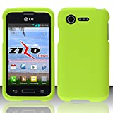 LG Optimus Fuel L34C Green Rubberized Plastic Cover Snap On Hard Rugged Gel Case Cell Phone Shield Protector Shell from [Accessory Library]