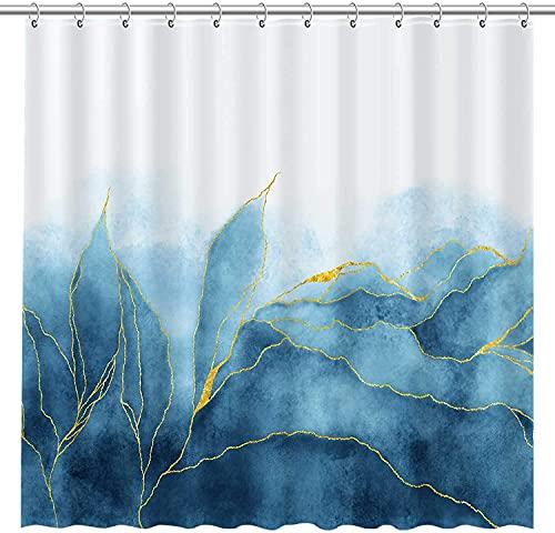 Blaue Farbverlauf Marmor Textur Duschvorhang Ozeanblau Gemischte goldene rissige Linien Muster Textur Moderne Luxus langlebige wasserdichte Stoffdekoration