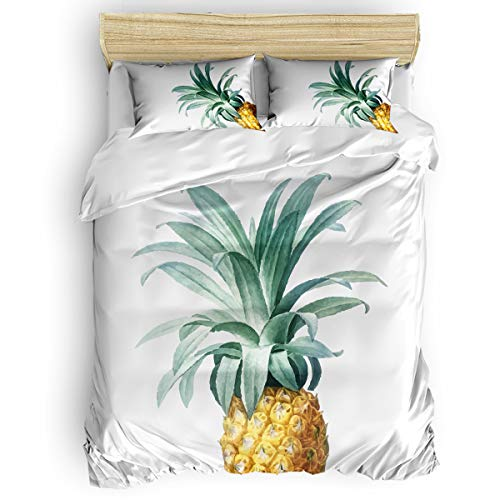 Amaze-Home Pineapple Tropical Fruit 4 Pieces Bedding Sets Queen Flannel Duvet Cover Sheet Bedspread with 2 Decorative Pillow Shams for Bedroom Dorm Hotel Yellow