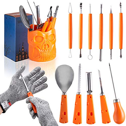 Pumpkin Carving Kit,11 Piece Professional pumpkin Carving Set whit Skull Shaped Holder and Cut Resistant Gloves,Heavy Duty Stainless Steel Tools for Halloween Pumpkin Decoration