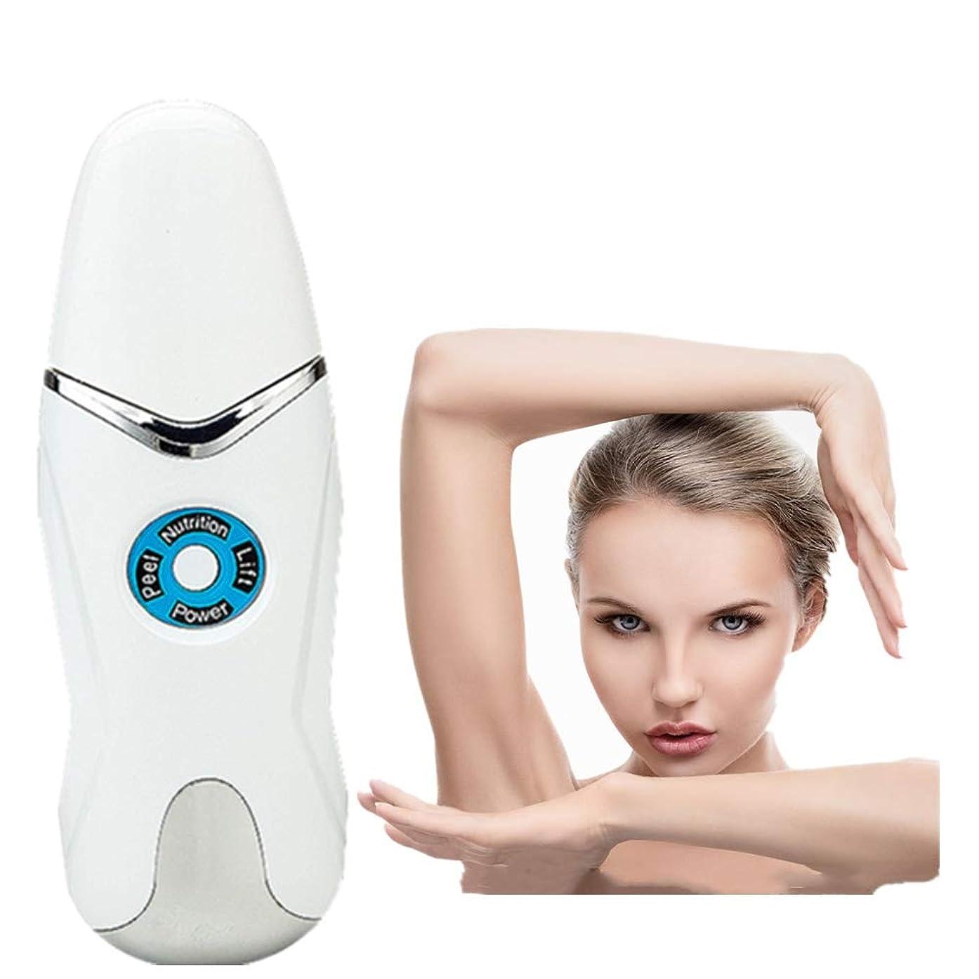 厳密にソーダ水やがて顔の皮膚スクラバーブラックヘッドリムーバー毛穴充電式スキンスクラバー光子の若返り美容皮膚クリーナーUSB充電式美容ツールEMSクリーニングイオン導入モードホワイト