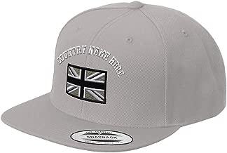 Custom Snapback Baseball Hat British Flag Black White Embroidery Country Acrylic