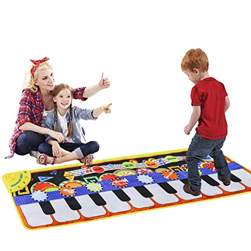 Cyiecw Piano Music Mat, Keyboard Play Mat Music Dance Mat with 19 Keys Piano Mat, 8 Selectable Musical Instruments Build-in Speaker & Recording Function for Kids Girls Boys, 43.3 x14.2