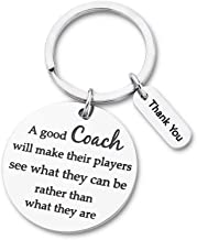Coach Gift Appreciation Sport Keychain for Basketball Football Baseball Swimming Soccer Gymnastics Retirement Birthday Coaches Men Women from Boys Girls Cheer Key Ring