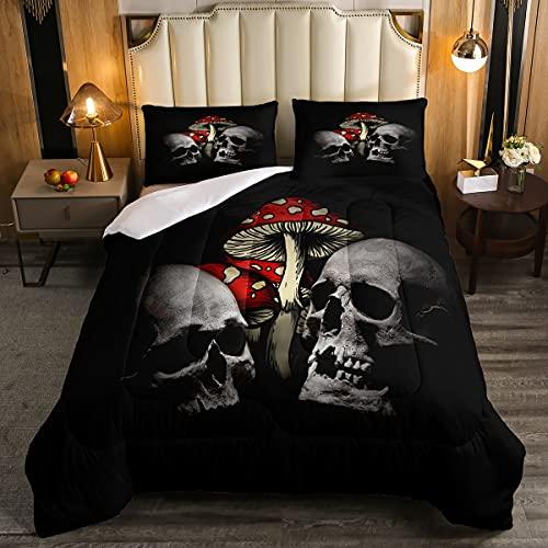 Juego de ropa de cama con diseño de calavera de azúcar y calavera, edredón para niños y niñas, estilo gótico, juego de edredón de terror, para Halloween, tamaño individual