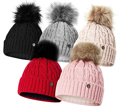 HEYO Damen Wintermütze mit Fleece Innenband H18527 | Slouch Beanie Winter Mütze | Warme Strickmütze mit Bommel | Bommelmütze (Schwarz)