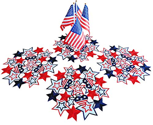 Holiday Patriotic Placemat 14' Set of 4 ,Embroiderd Cutwork Blue&Red Stars Dresser Scarf for American Independence Day, Memorial Day Holiday Tabletop Decoration (Placemat 14' Set of 4, Star-1)