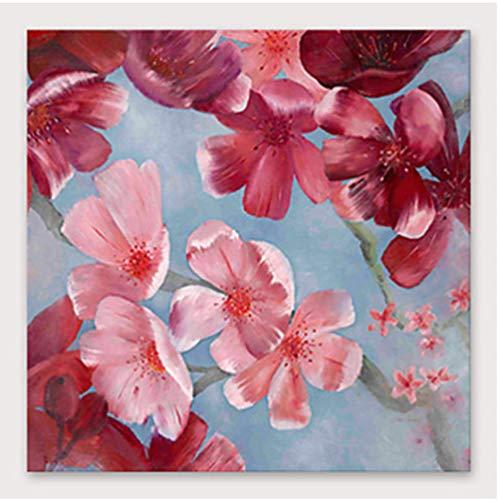 YHXIAOBAOZI 100% Handgemalt Abstrakt Bunte Landschaft Gemälde Auf Leinwand Rot Peach Blossom Moderne Wand Kunst Schmuck Bilder Malen Für Live Zimmer Home Decor 60 × 60 cm (150 X 150 cm)