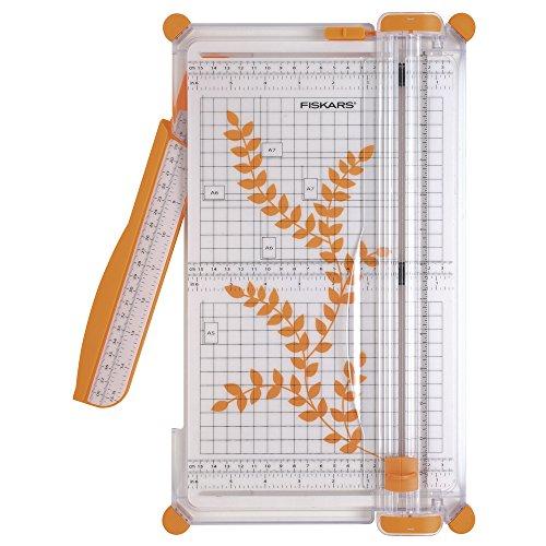 Fiskars Surecut 1003758 Papieren Snijmachine, A4, Grote Snijmachine Met Snijlijngeleiding, Wit en Oranje