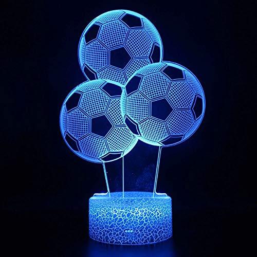 Fútbol 3D lámpara de mesa pequeña interfaz USB lámpara de mesa pequeña regalo decoración de cumpleaños de vacaciones decoración de regalo de vacaciones lámpara de mesa