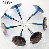 Almabner 24 Piezas de Parches para neumáticos de 36 mm de Caucho Natural para reparación de pinchazos, No nulo, Azul, Tamaño Libre