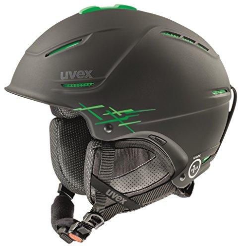 Uvex P1us Pro Skihelm, Black/Green Mat, 52-55 cm