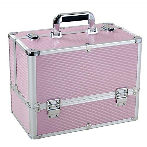 Coffret à Maquillage Professionnelle, Malette de Rangement pour Nail Art, Bijoux et Cosmétique Beauty Case 37x22x27.5 cm, Rose, UUhome