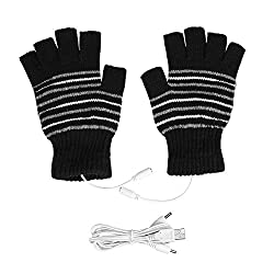 Semme USB heated gloves, winter heating gloves for men and women USB powered washable half fingers warm mids for cycling motorcycle hiking skiing and mountaineering (coffee)
