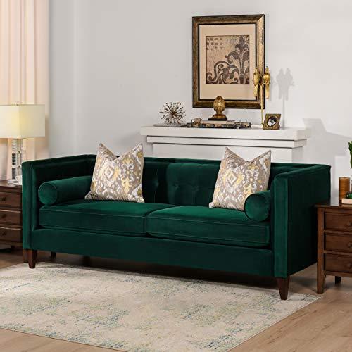 Jennifer Taylor Home Jack Collection Sofá tapizado a mano moderno con 2 almohadas y patas acabadas a mano