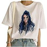 Camiseta Billie Eilish Mujer, Billie Eilish Camiseta Mujer Impresión Manga Corta Street Fashion T-Shirt Adolescentes Camisetas y Tops