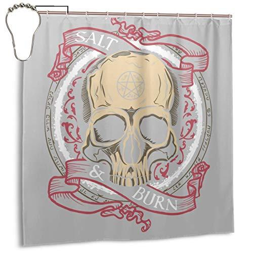 GSEGSEG Wasserdichter Polyester-Duschvorhang Supernatural Salz und Burn Skull Print Dekorativer Badezimmer-Vorhang mit Haken, 182,9 x 182,9 cm