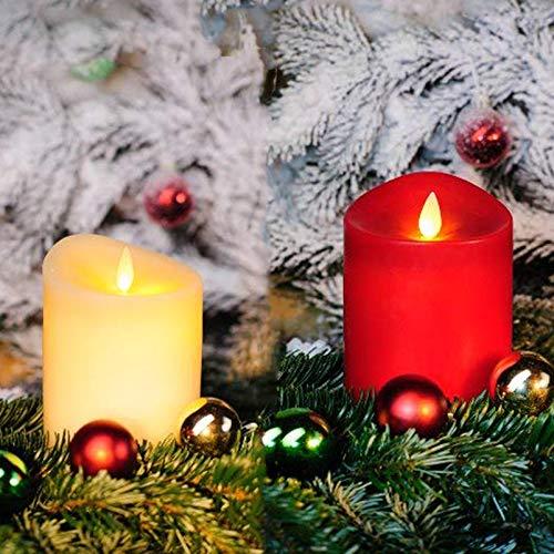 IC Duft-LED Kerze aus Echtwachs mit Duft-Pad und virtuelle Flamme, Timer. Duftkerze mit LED Effekt-Flamme (Rot, 12,5 cm)