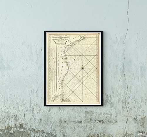 1794 Laurie & Whittle Nautical Chart or of The Coromandel Coast, India Map Historic Antique Vintage Reprint Size: 18x24 Ready to Frame