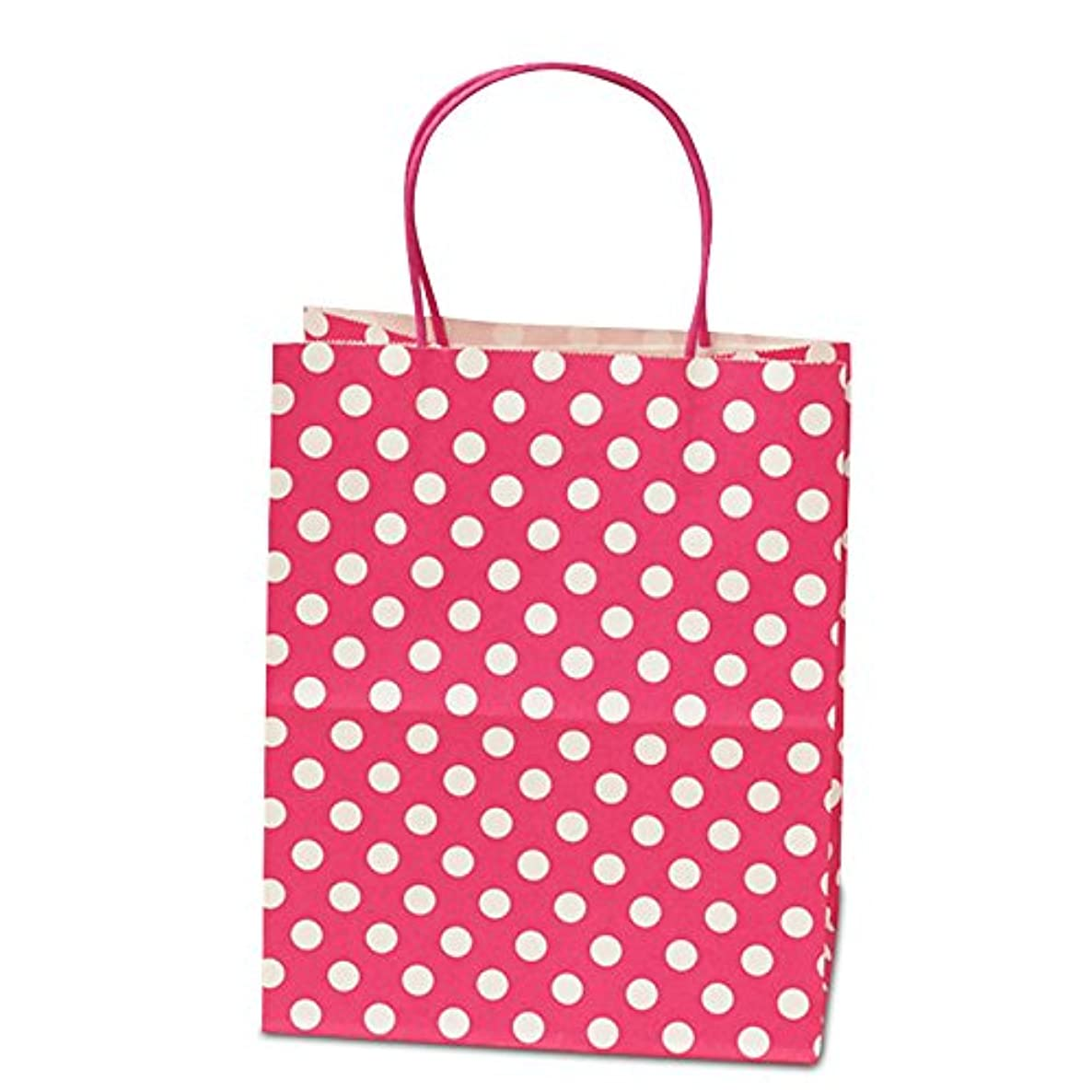 Panda Party Supplies Twisted Handle Matte Hot Pink Polka Dot Paper Shopping Gift Bags (12)