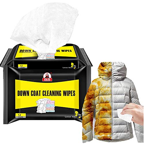 MEZUT 2 Pack Down Jackets Wipes Quick Cleaner - Professional for Down Jackets, Down Coat, Sleeping Bags and Duvets (12 Count per Pack)